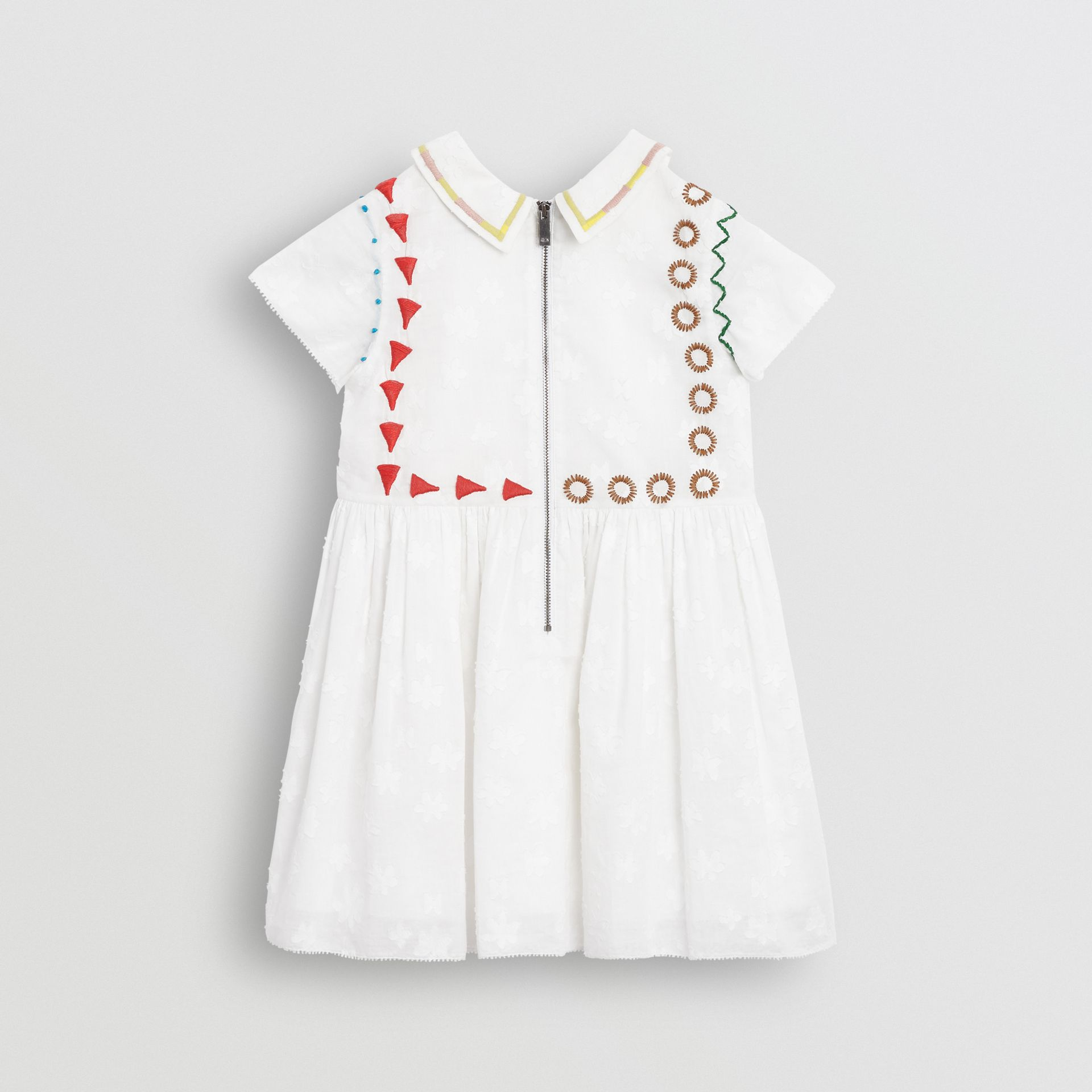 Peter Pan Collar Embroidered Cotton Dress in White | Burberry United Kingdom - gallery image 3