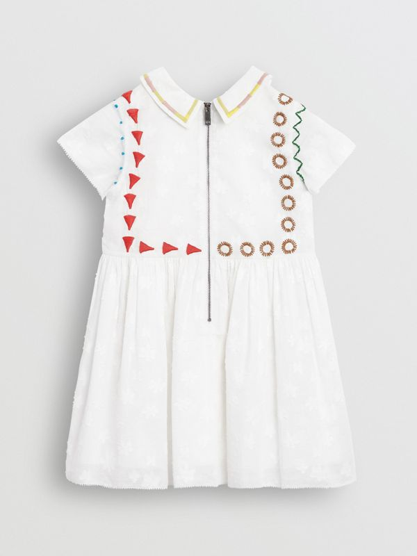 Peter Pan Collar Embroidered Cotton Dress in White | Burberry United Kingdom - cell image 3