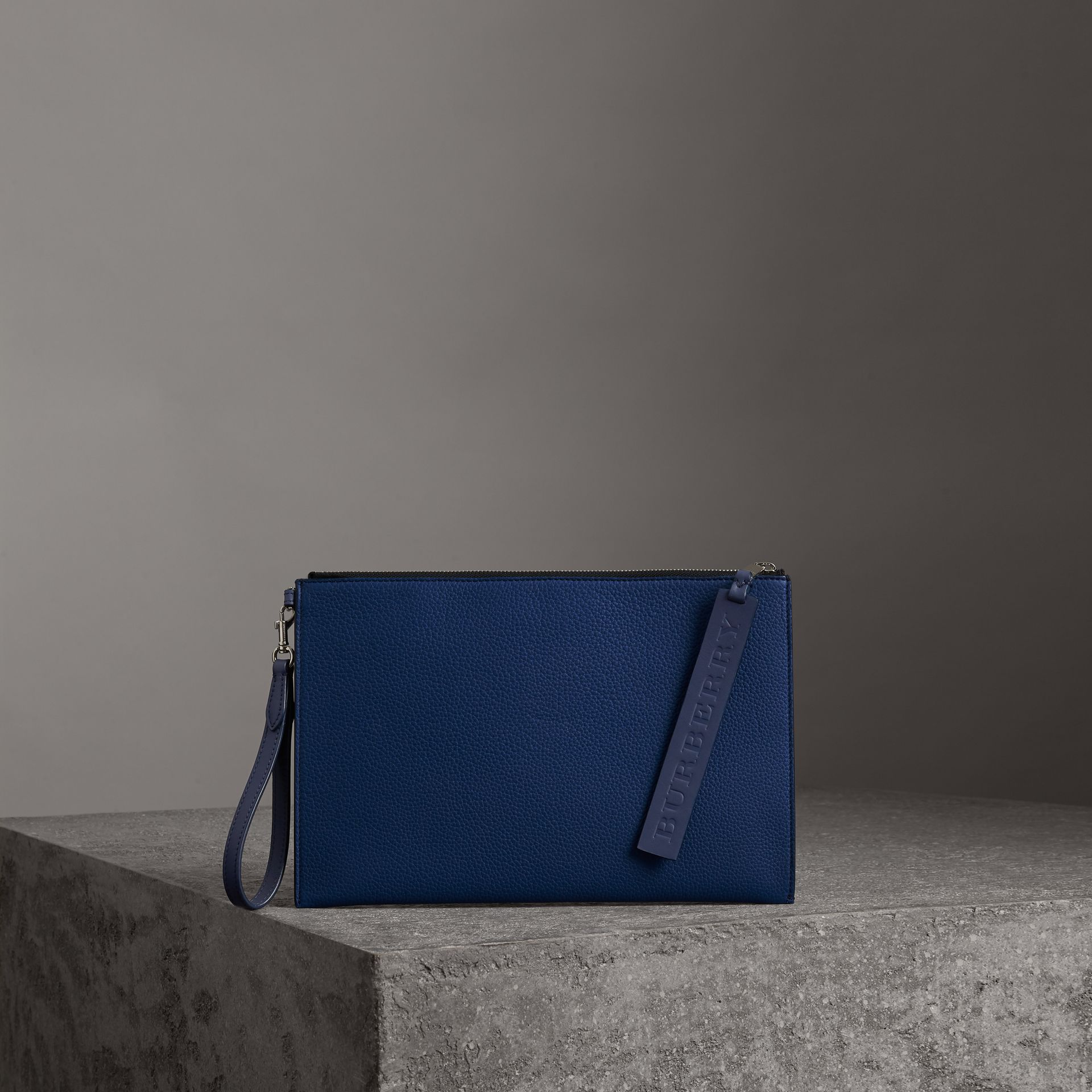 Grainy Leather Zip Pouch in Bright Ultramarine | Burberry United Kingdom - gallery image 0