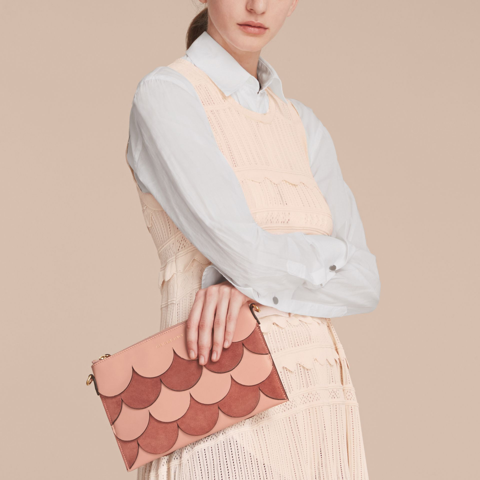 Two-tone Scalloped Leather and Suede Clutch Bag in Ash Rose - Women | Burberry Singapore - gallery image 4