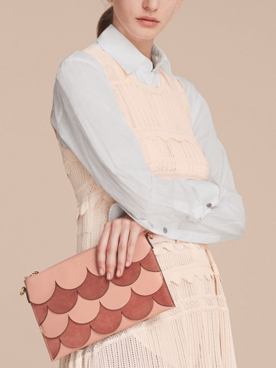 Two-tone Scalloped Leather and Suede Clutch Bag in Ash Rose - Women | Burberry Singapore - cell image 3