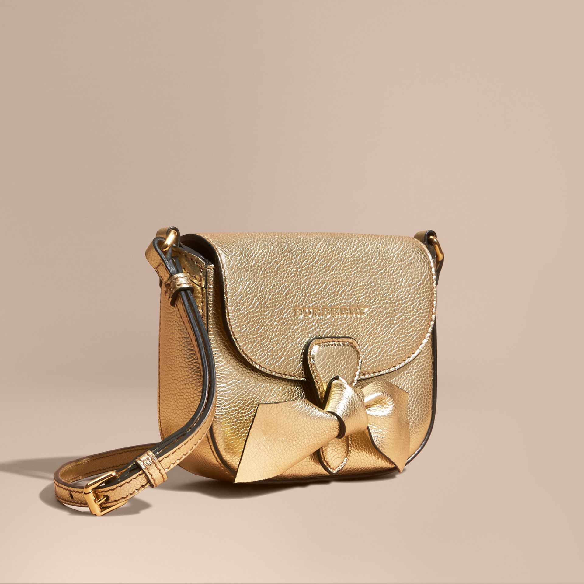 Gold Metallic Leather Crossbody Bag - gallery image 1