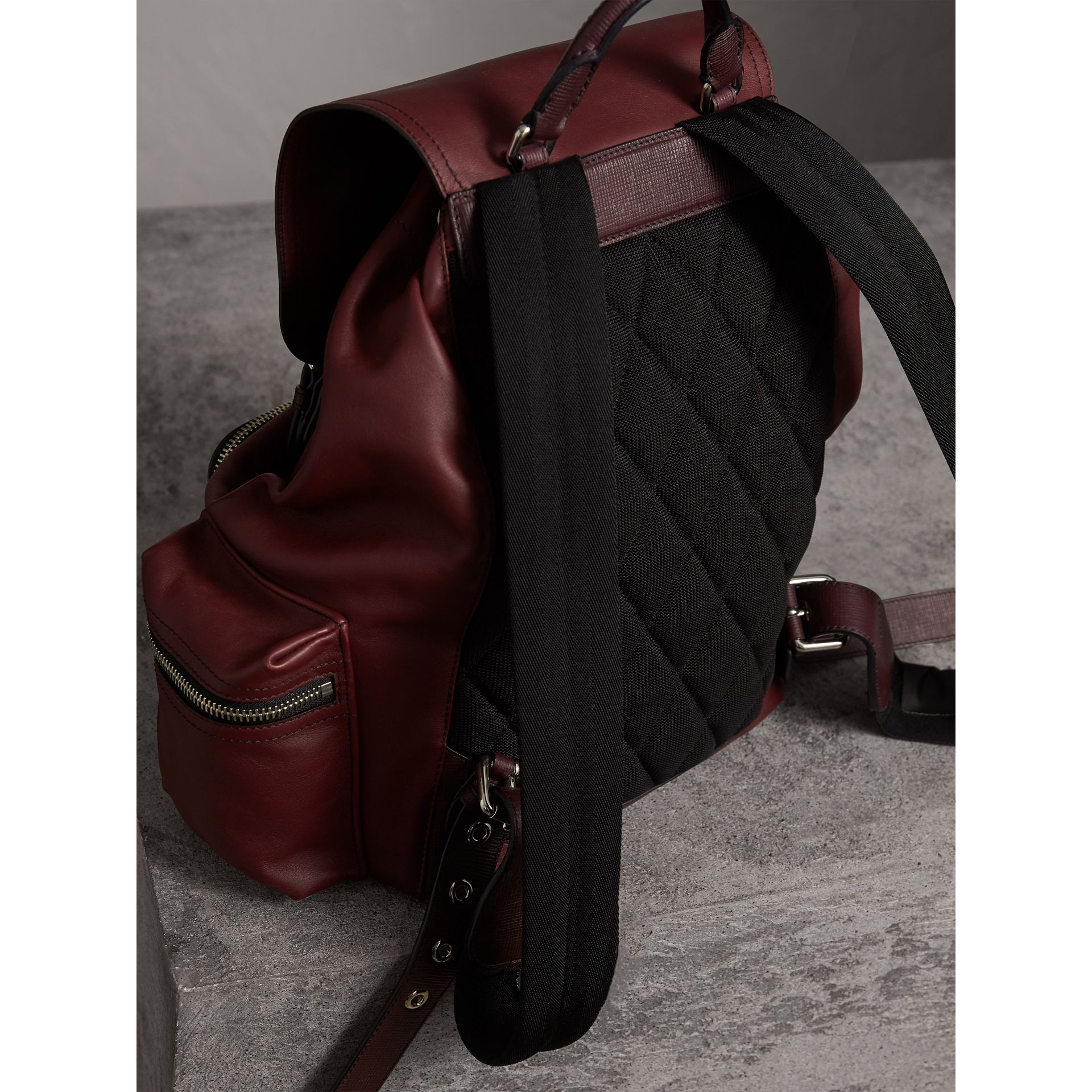 The Large Rucksack in Water-repellent Leather in Burgundy Red - Men | Burberry Singapore - gallery image 4