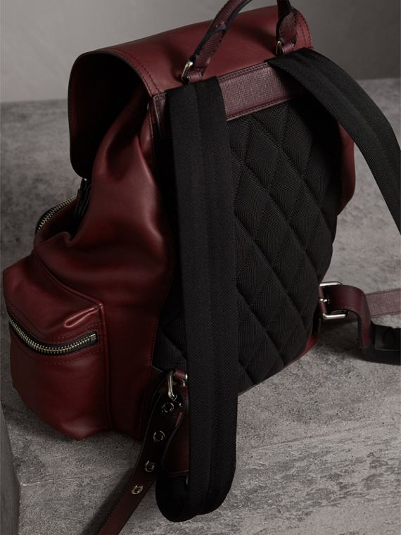 The Large Rucksack in Water-repellent Leather in Burgundy Red - Men | Burberry - cell image 3