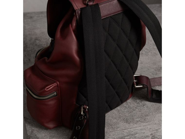 The Large Rucksack in Water-repellent Leather in Burgundy Red - Men | Burberry - cell image 4