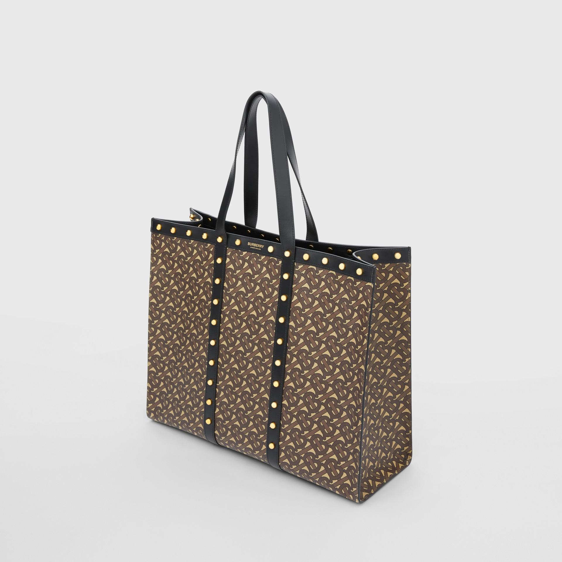 Monogram Print E-canvas Tote Bag in Black | Burberry - gallery image 4
