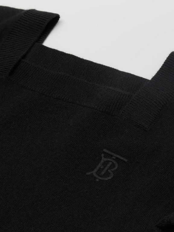 Monogram Motif Cashmere Sweater Dress in Black | Burberry United States - cell image 1