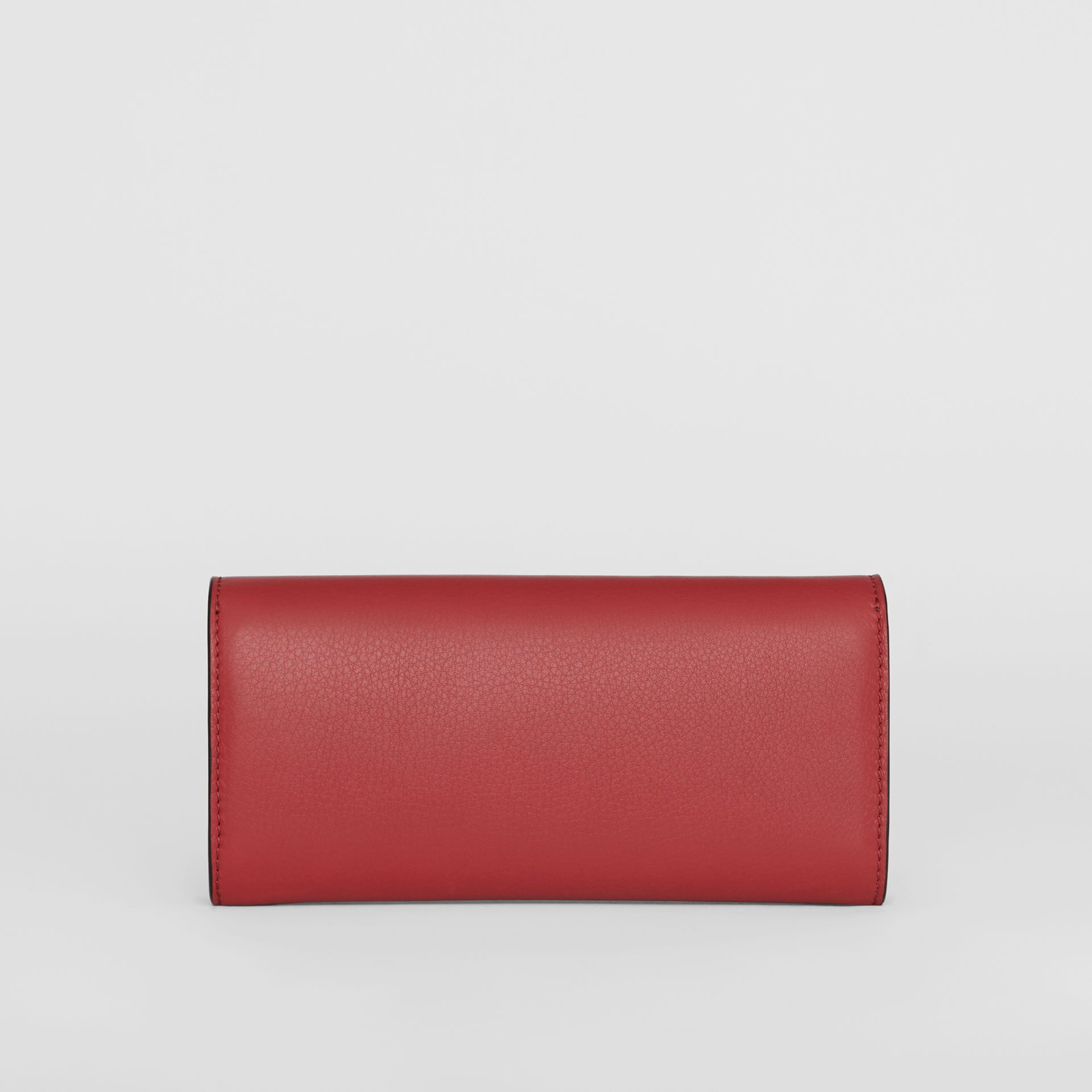 Embossed Crest Two-tone Leather Continental Wallet in Crimson - Women | Burberry Australia - gallery image 5