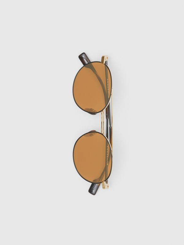 Top Bar Detail Round Frame Sunglasses in Tortoiseshell - Men | Burberry - cell image 3