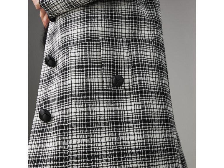 Check Wool Tailored Coat in Black/white - Women | Burberry - cell image 1