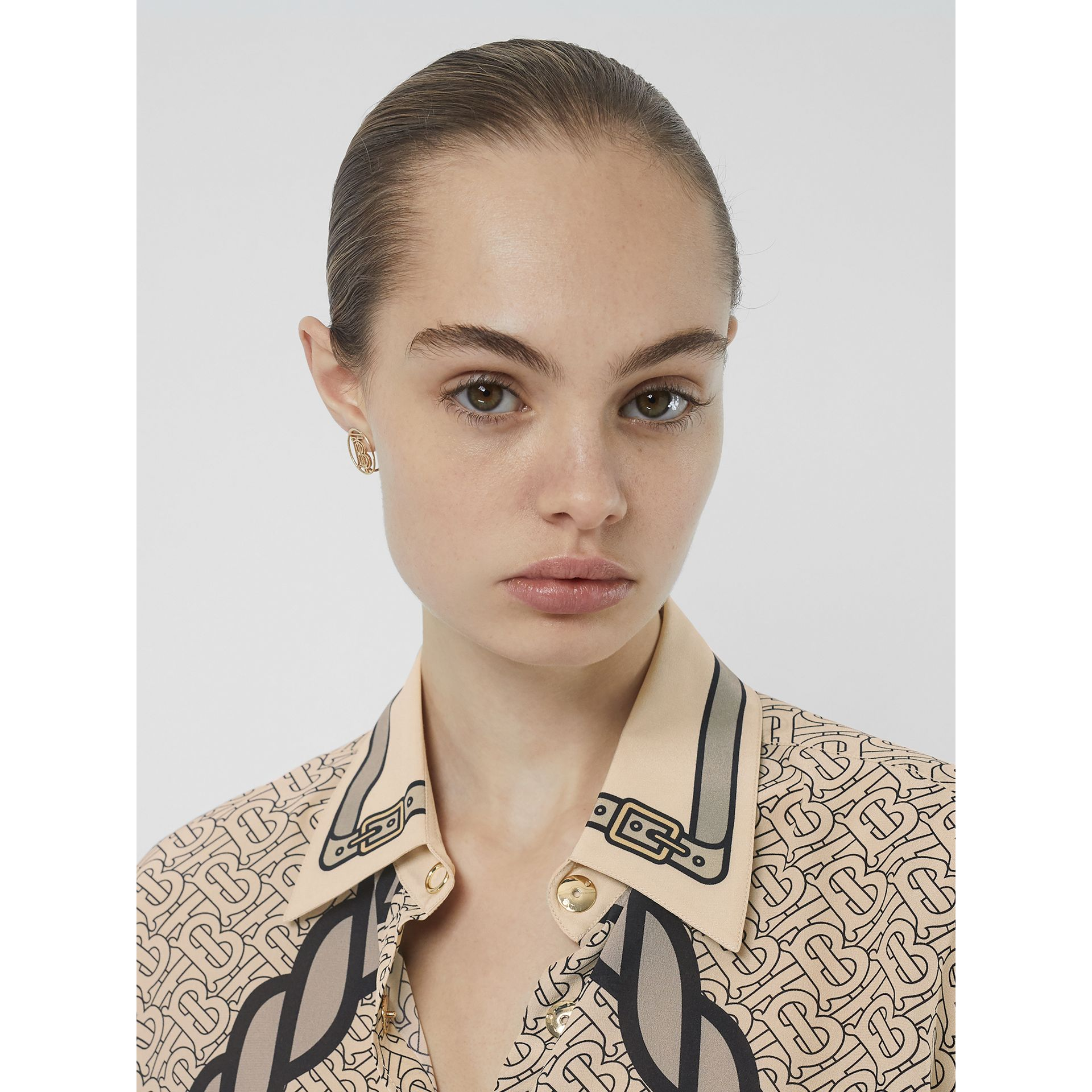 Unicorn and Monogram Print Silk Shirt in Light Camel - Women | Burberry - gallery image 5