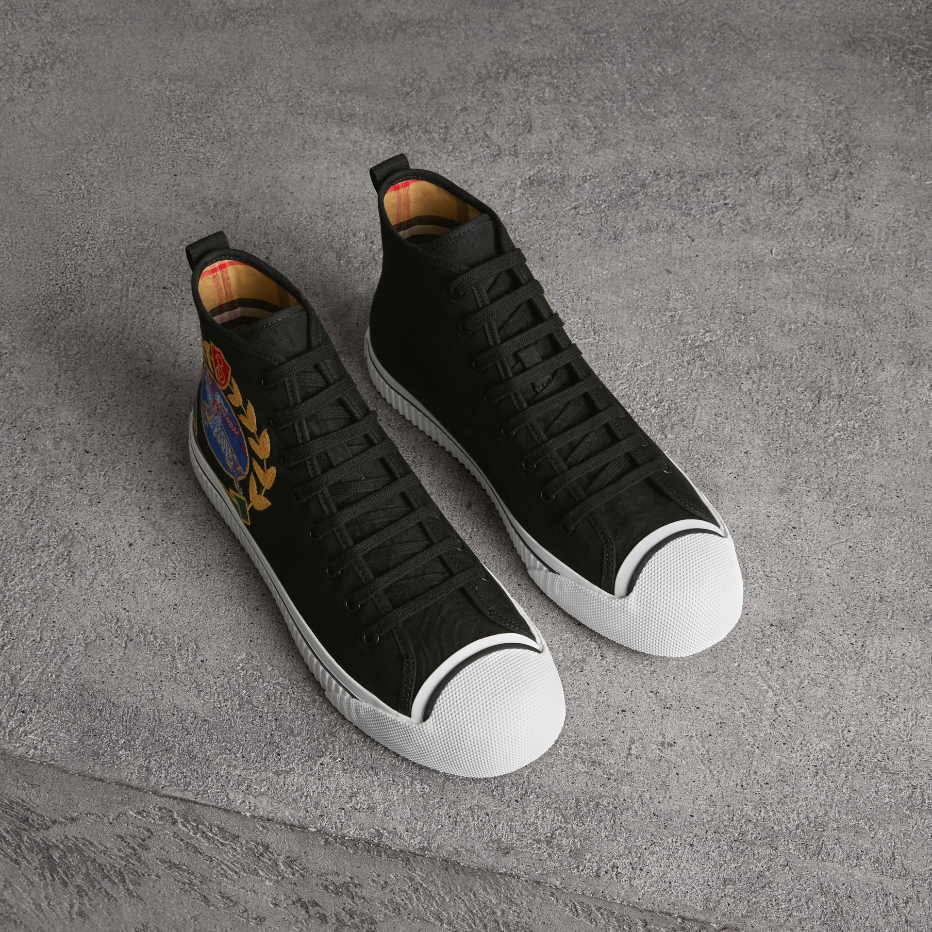 Archive Logo Cotton Gabardine High-top Sneakers in Black - Men | Burberry - gallery image 0