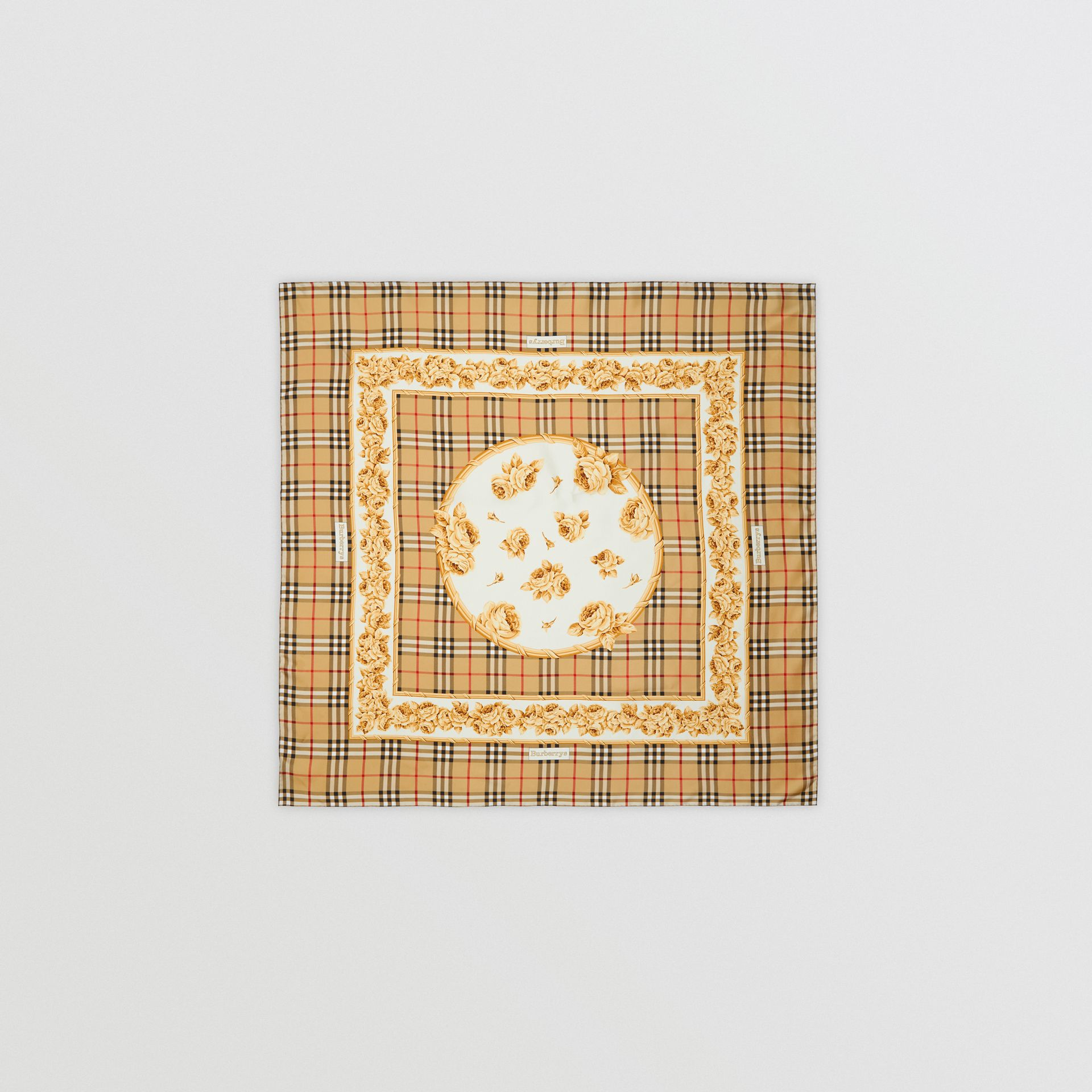 Archive Scarf Print Silk Square Scarf in Antique Yellow | Burberry - gallery image 0