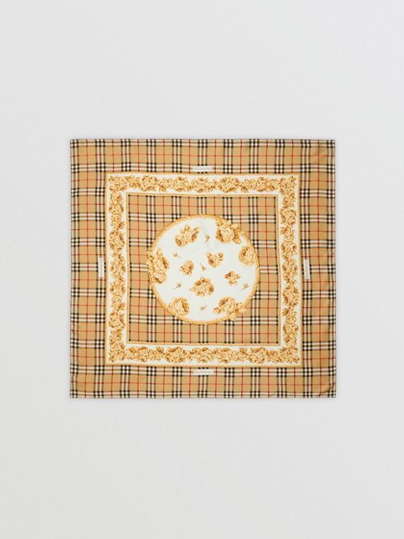 Archive Scarf Print Silk Square Scarf in Antique Yellow