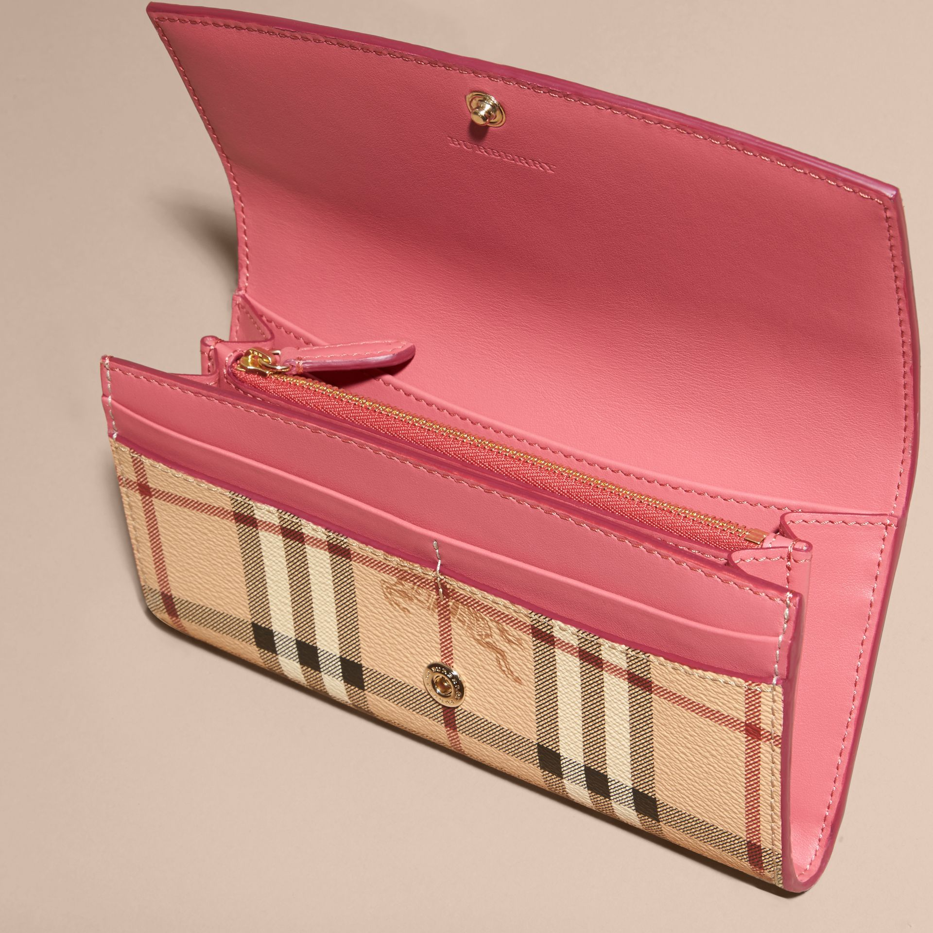 Haymarket Check and Leather Continental Wallet in Plum Pink - Women | Burberry - gallery image 5