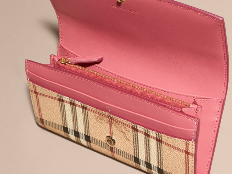 Haymarket Check and Leather Continental Wallet in Plum Pink - Women | Burberry - cell image 4