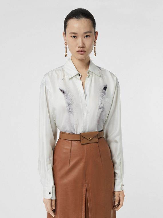 Unicorn Print Silk Shirt in Light Grey