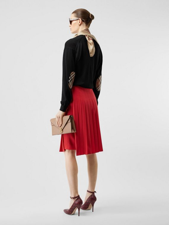 Vintage 格紋細節美麗諾羊毛開襟針織衫 (黑色)