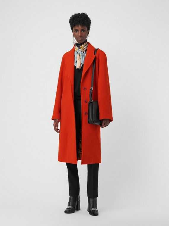 Wool Blend Tailored Coat in Bright Red