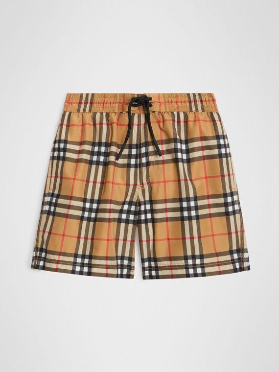 Short de bain à motif Vintage check (Jaune Antique)