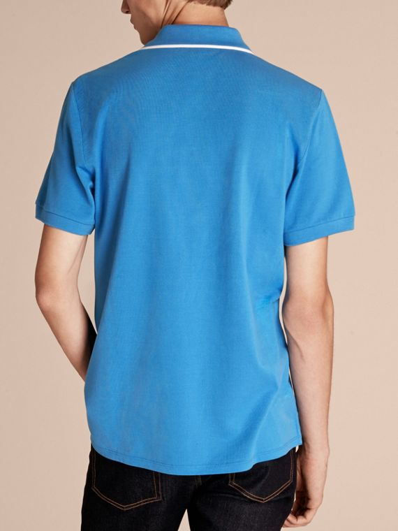 Tipped Collar Cotton Piqué Polo Shirt Chalk Blue - cell image 2