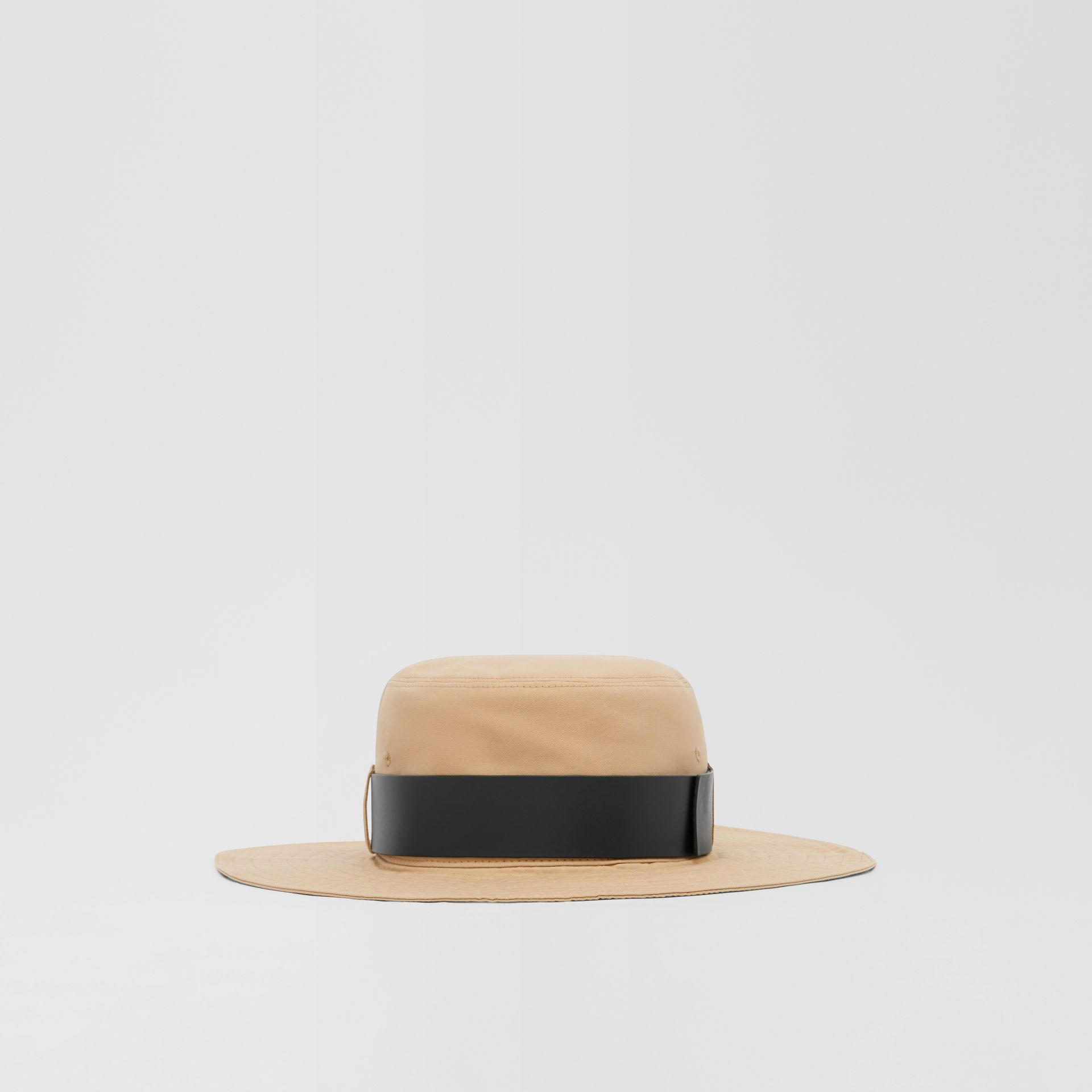 Monogram Motif Leather Belt Detail Cotton Desert Hat in Honey | Burberry Canada - gallery image 6