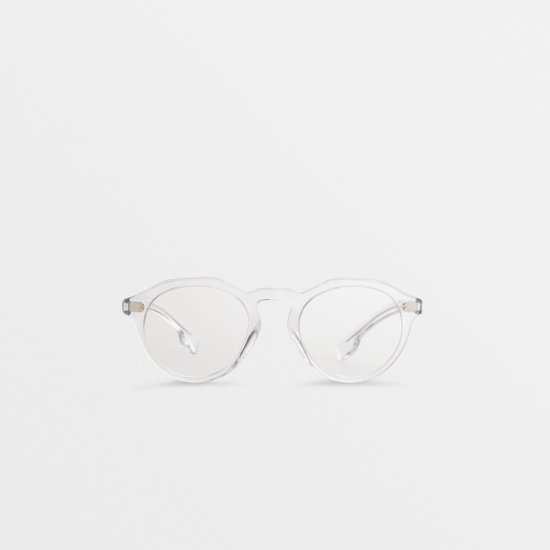 Keyhole Round Optical Frames in Crystal - Men | Burberry - gallery image 0
