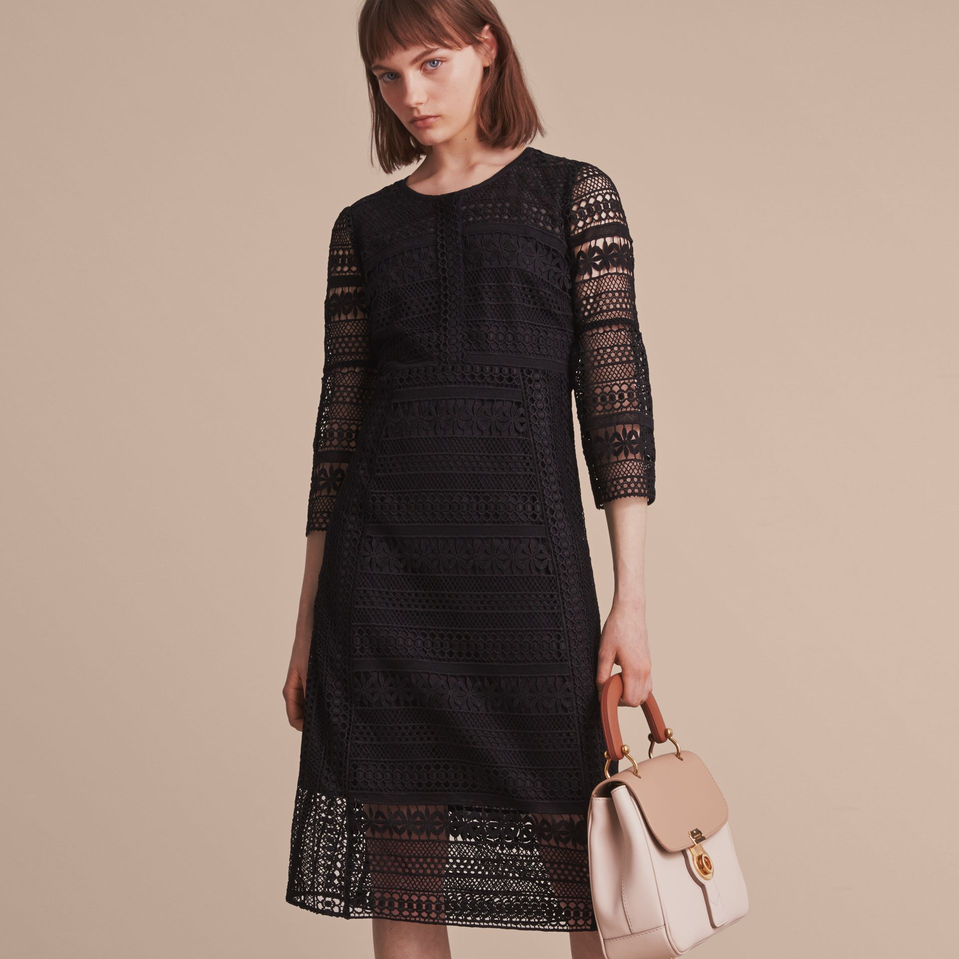 Puff-sleeve Macramé Lace Dress - gallery image 6