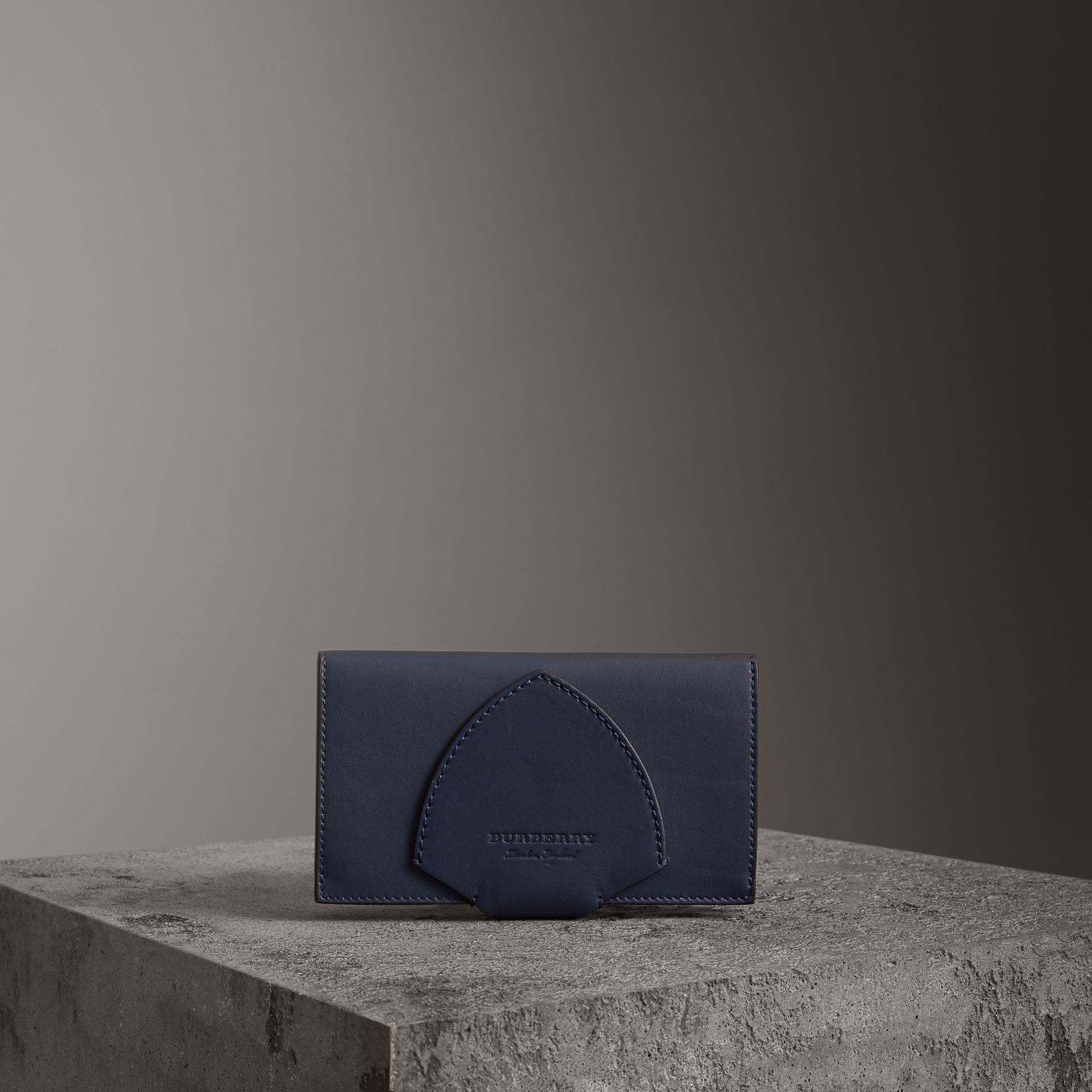 Equestrian Shield Two-tone Leather Continental Wallet in Mid Indigo - Women | Burberry - gallery image 0