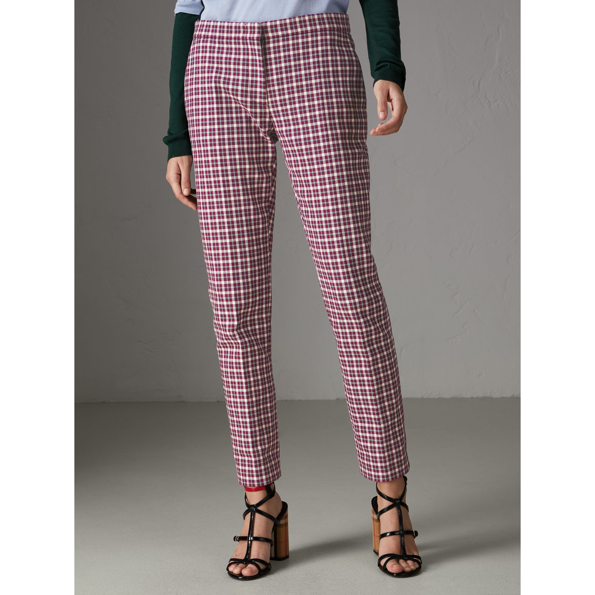 Straight-fit Check Cotton Tailored Trousers in Burgundy - Women | Burberry - gallery image 5