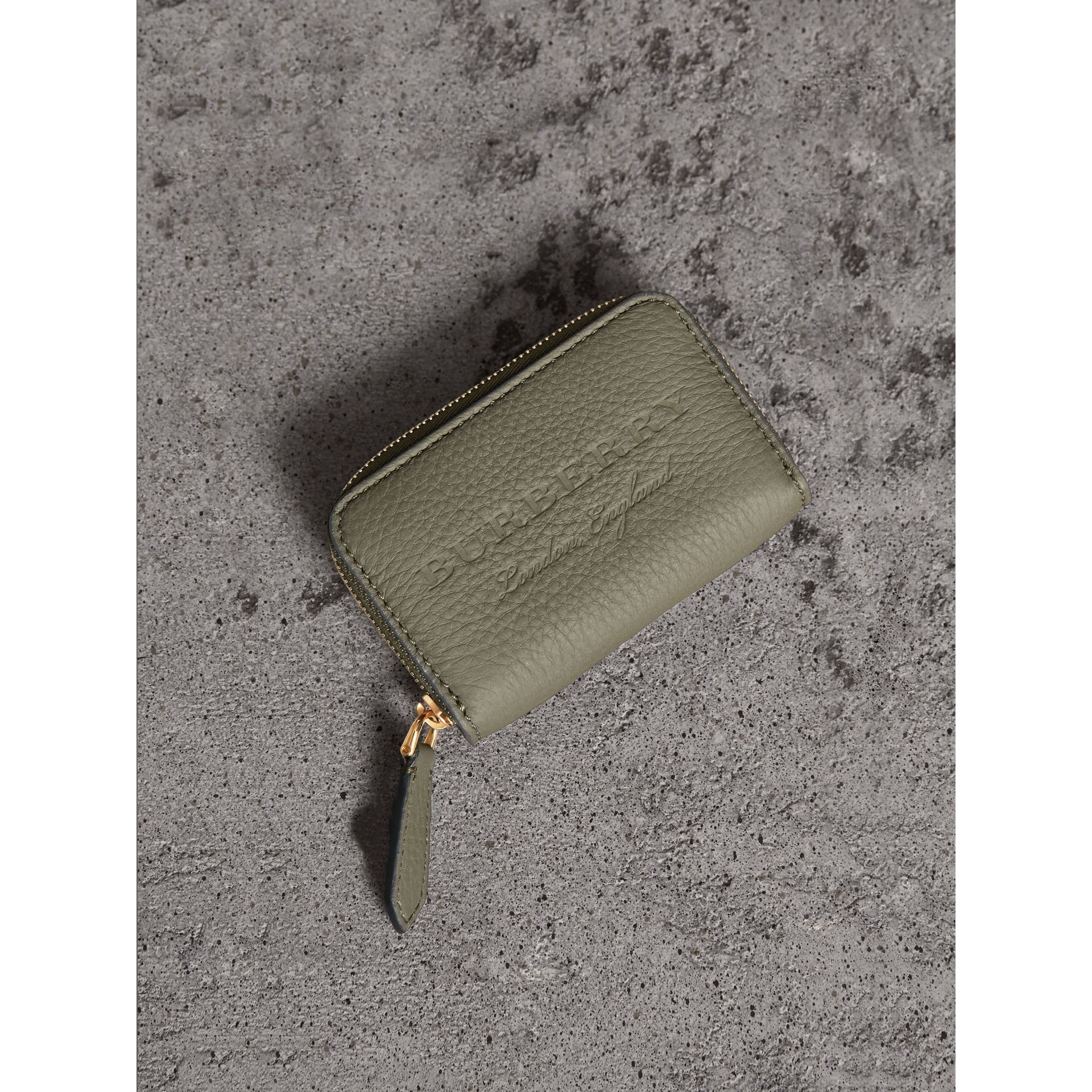 Textured Leather Ziparound Coin Case in Slate Green - Men | Burberry - gallery image 1