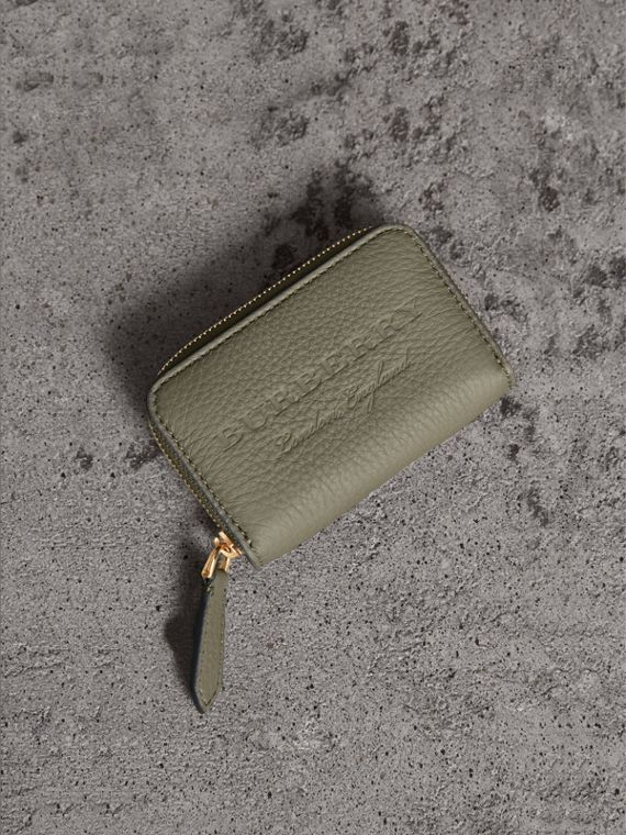 Textured Leather Ziparound Coin Case in Slate Green