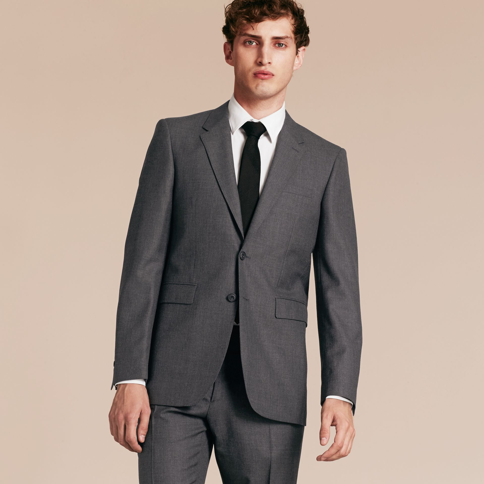 Modern Fit Wool Part-canvas Suit Charcoal - gallery image 8