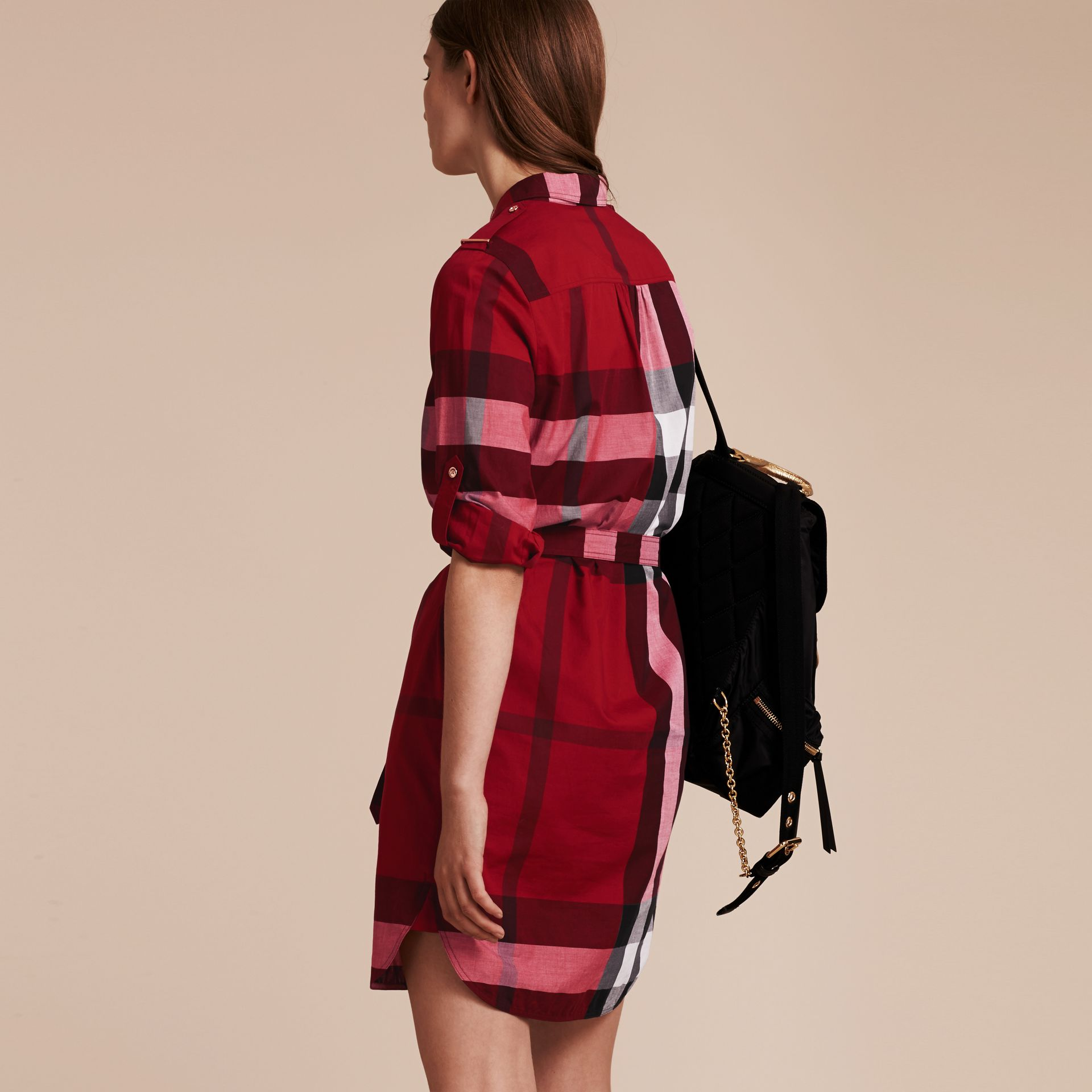 Check Cotton Shirt Dress in Parade Red - gallery image 3