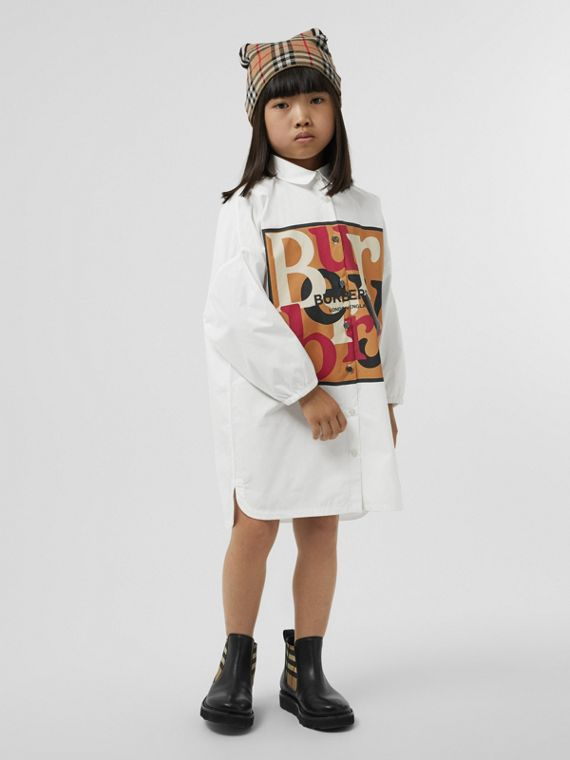 Logo and Archive Scarf Print Cotton Shirt Dress in White