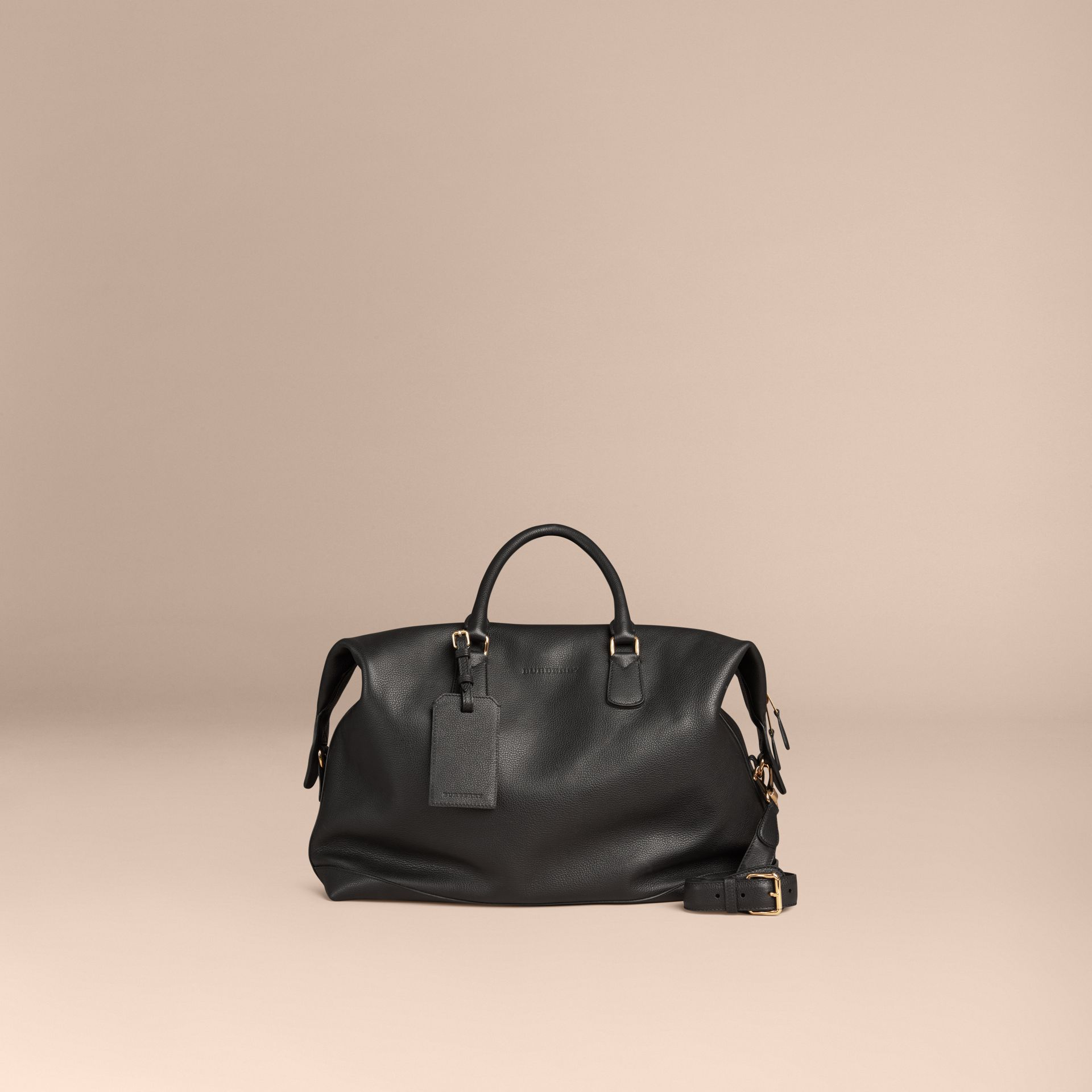 Black Grainy Leather Holdall Black - gallery image 6