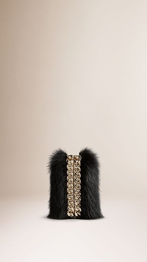 Black Chain-Detail Mink Box Clutch - Image 4