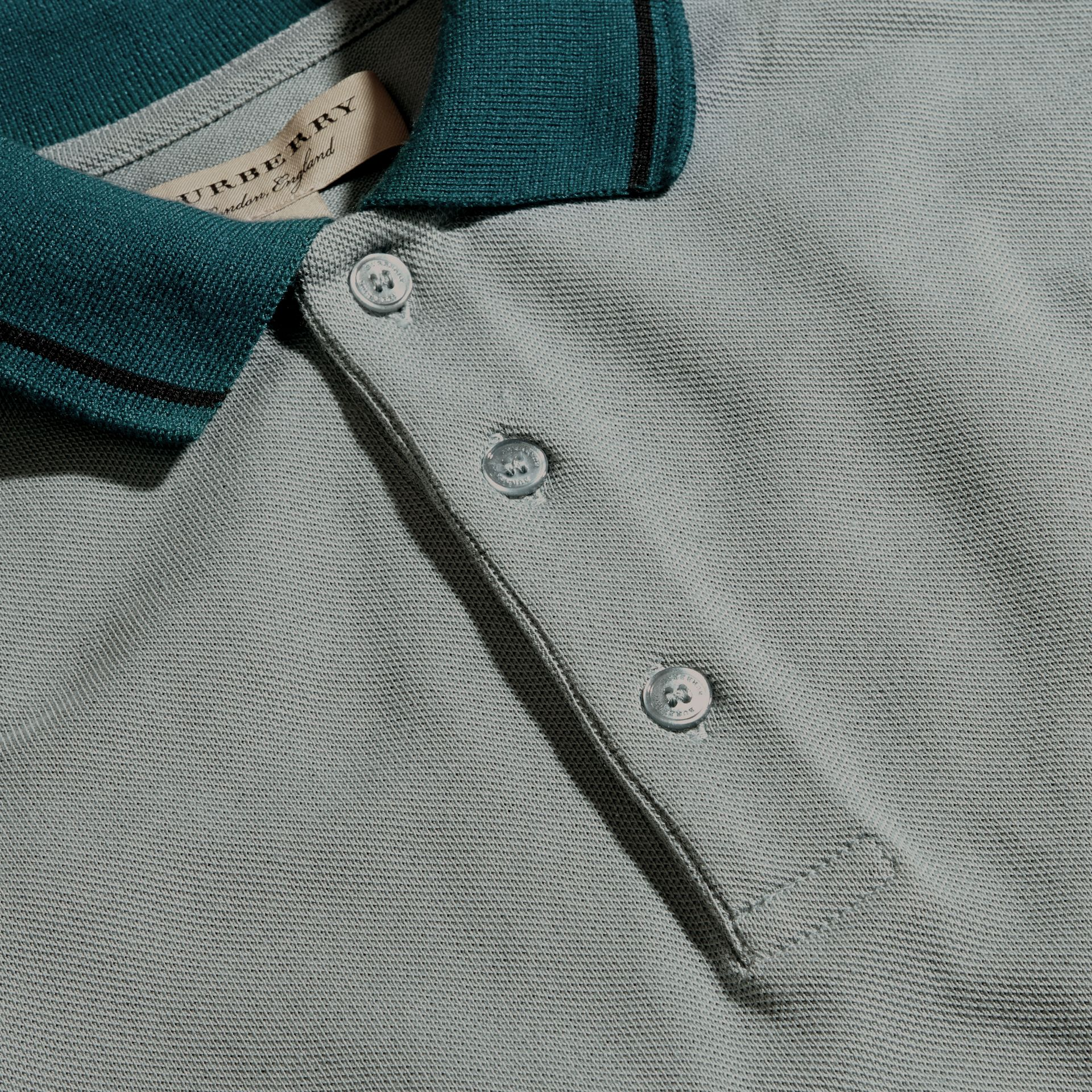 Chalk blue/black Contrast Tipping Cotton Piqué Polo Shirt Chalk Blue/black - gallery image 2