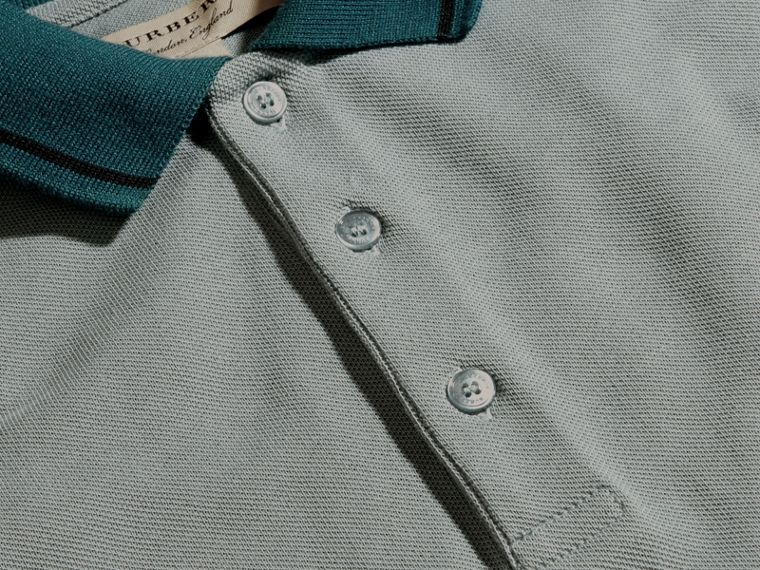 Chalk blue/black Contrast Tipping Cotton Piqué Polo Shirt Chalk Blue/black - cell image 1