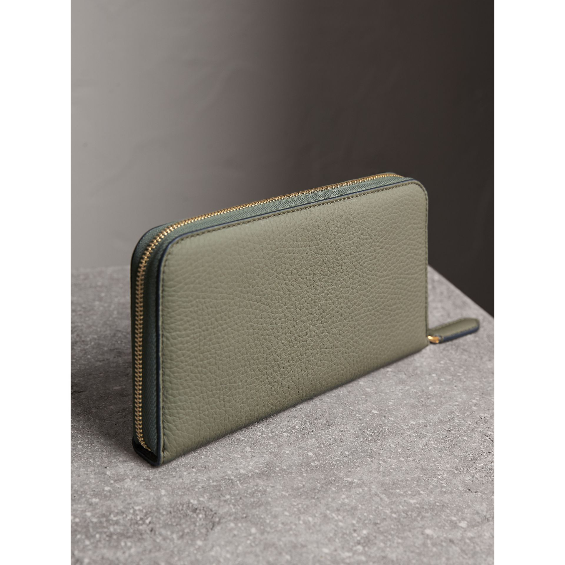 Embossed Grainy Leather Ziparound Wallet in Slate Green - Men | Burberry United Kingdom - gallery image 3