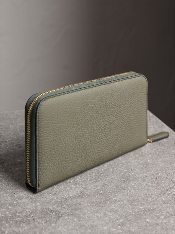 Embossed Grainy Leather Ziparound Wallet in Slate Green - Men | Burberry Australia - cell image 2