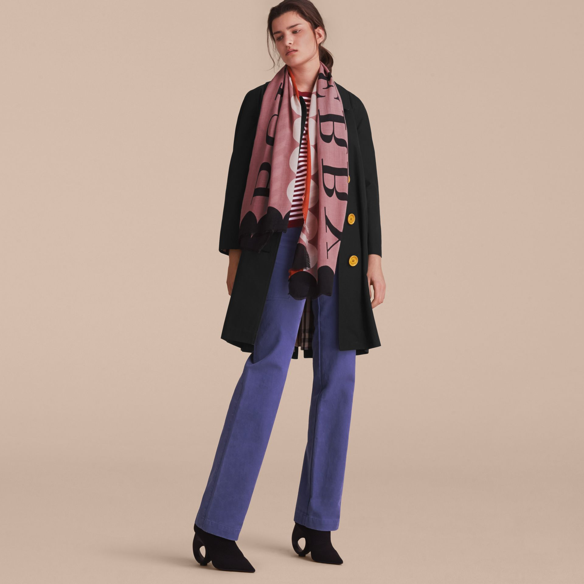 Scallop and Stripe Print Modal Wool Scarf in Dusty Pink - Women | Burberry Australia - gallery image 3