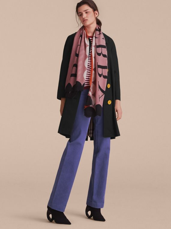 Scallop and Stripe Print Modal Wool Scarf in Dusty Pink - Women | Burberry Australia - cell image 2