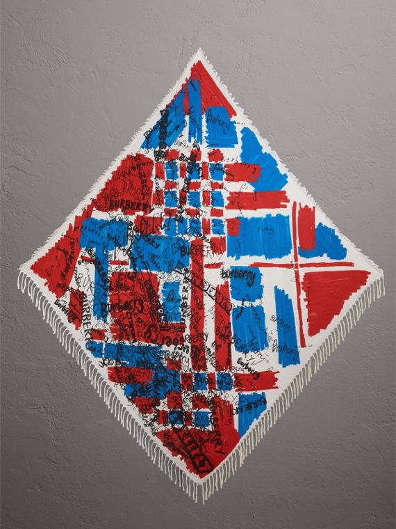 塗鴉印花及拼色格紋絲綢棉質圍巾 (墨藍色)