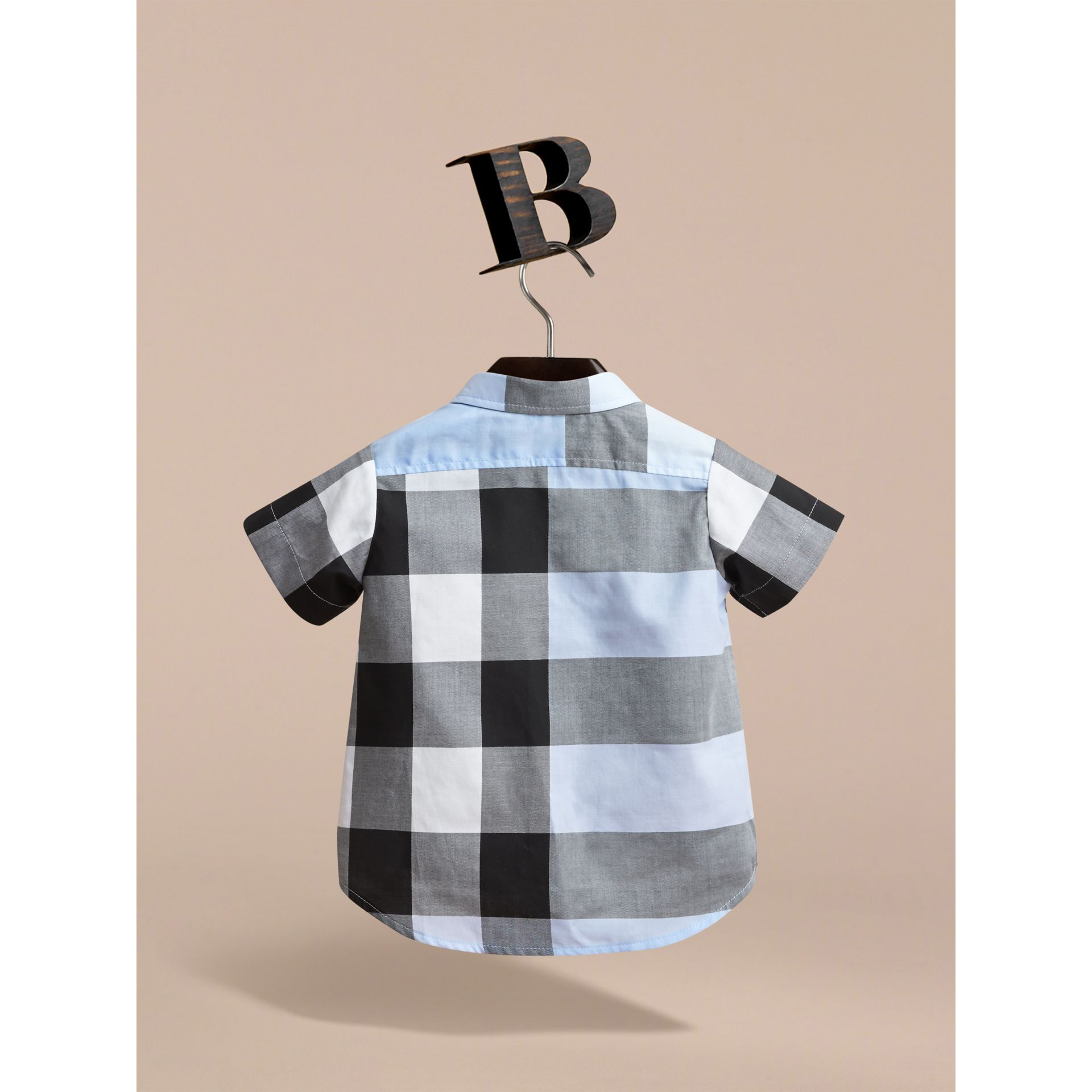Short-sleeve Check Cotton Shirt in Sky Blue | Burberry - gallery image 3