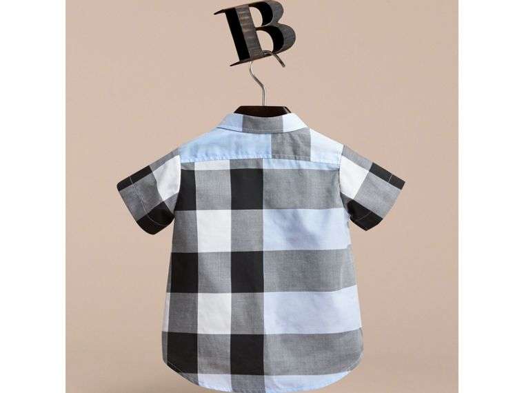 Short-sleeve Check Cotton Shirt in Sky Blue | Burberry - cell image 2