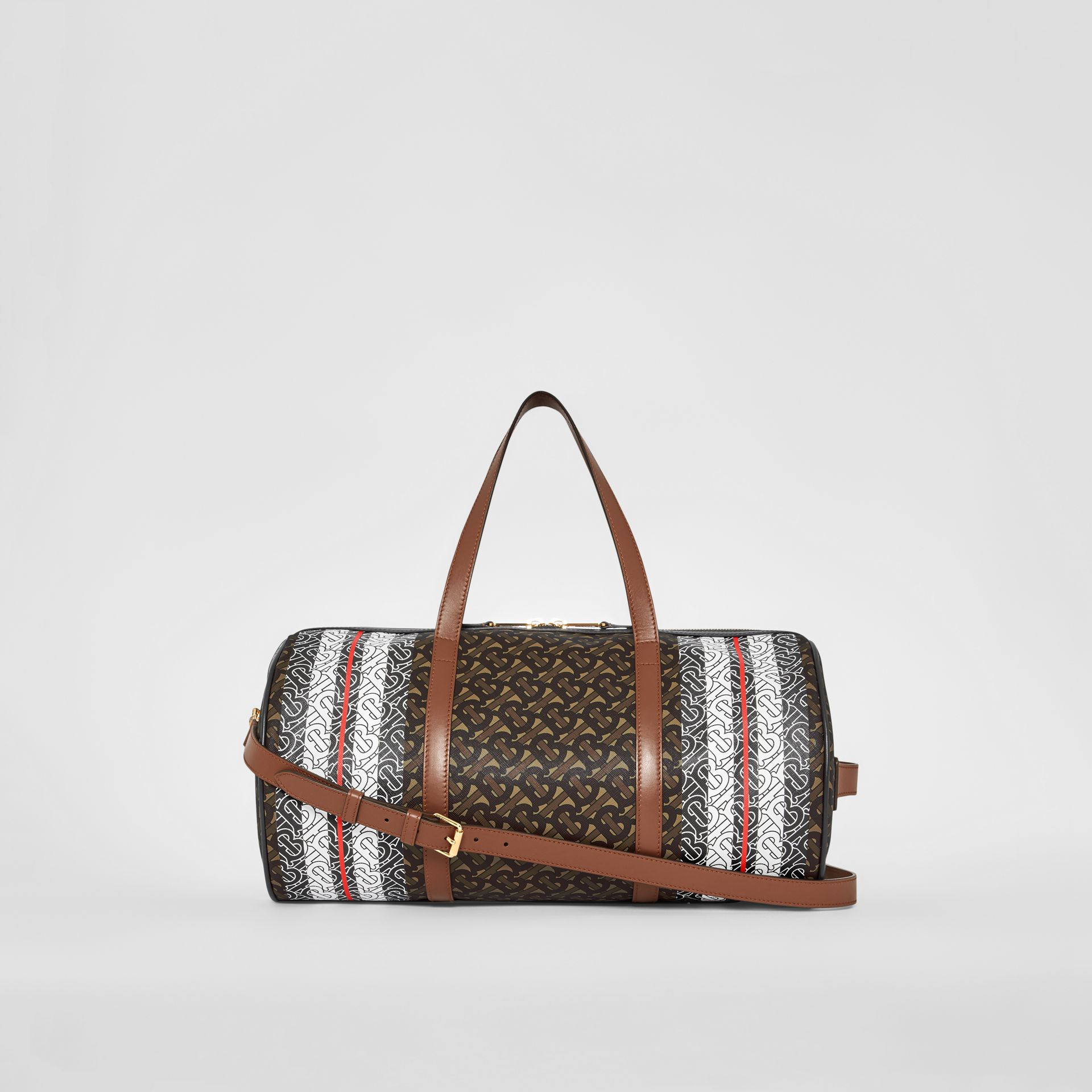 Medium Monogram Stripe E-canvas Barrel Bag in Bridle Brown | Burberry - gallery image 9