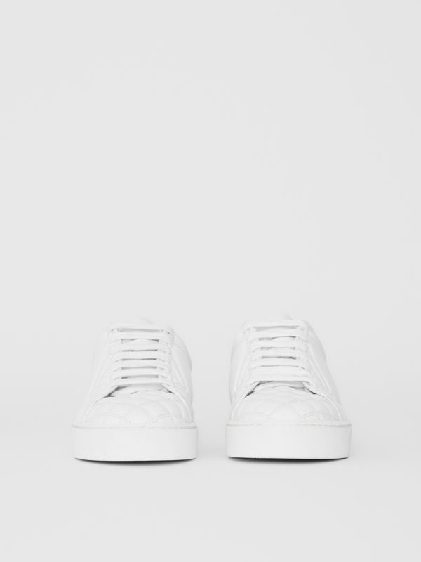Check-quilted Leather Sneakers in Optic White - Women | Burberry United Kingdom - cell image 2