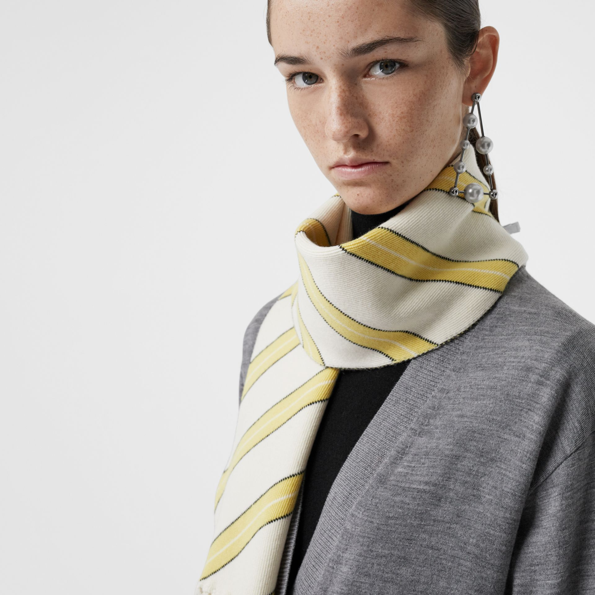 Tri-tone Striped Wool Cashmere Scarf in Natural White | Burberry United Kingdom - gallery image 5