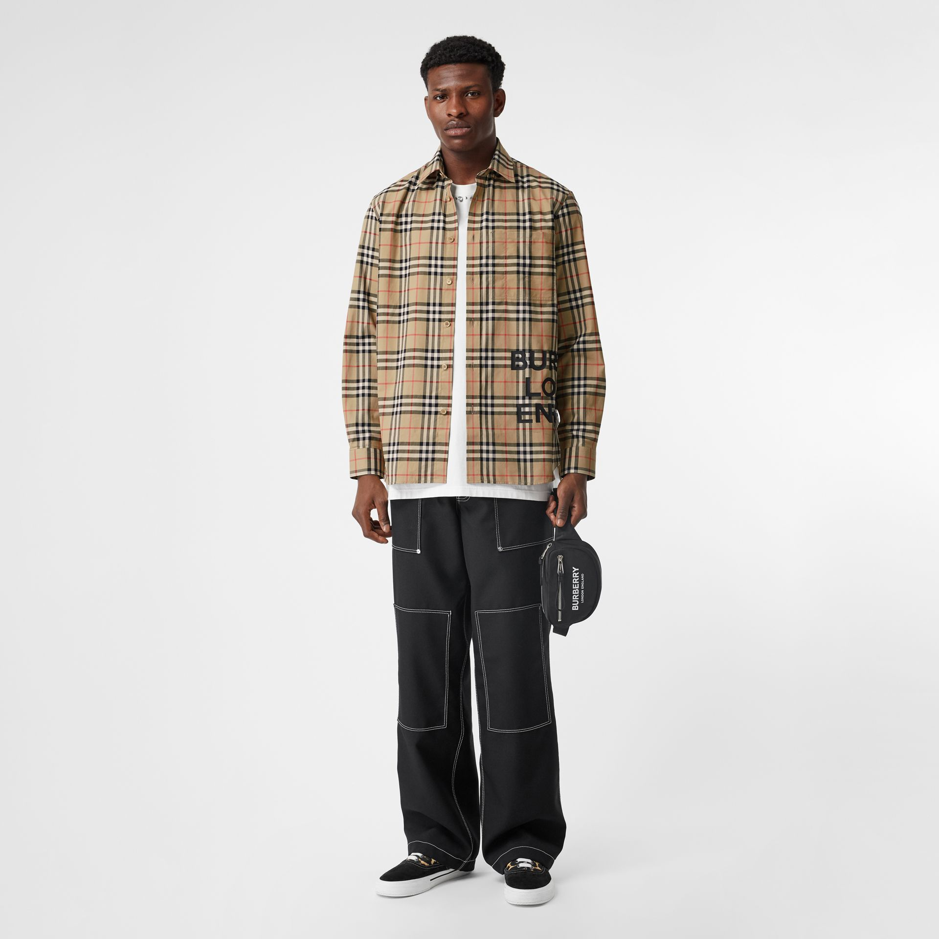 Logo Print Check Cotton Oversized Shirt in Archive Beige - Men | Burberry - gallery image 0